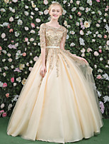 Formal Evening Dress - Lace-up Ball Gown Jewel Floor-length Lace Satin Tulle withBeading Lace Pearl Detailing Sash / Ribbon Sequins