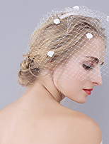 Wedding Veil One-tier Blusher Veils Cut Edge Net Handmade Flower New
