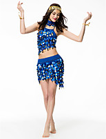 Belly Dance Outfits Women's Performance Chinlon Sequined Sequins 2 Pieces Sleeveless High Top Skirt