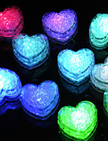 12Pcs Changing Color Novelty Gadget Led Light Ice Heart Clear Ice Cubes Decorative Led Luminous Flash Light Ice