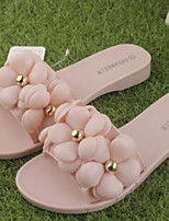 Feminino-Chinelos e flip-flops-Chanel-Rasteiro-Preto Rosa claro-Borracha-Casual