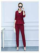 Women's Casual/Daily Simple Summer T-shirt Pant Suits,Solid V Neck ½ Length Sleeve Cotton