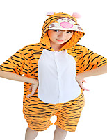 Kigurumi Pajamas Anime Tiger Leotard/Onesie Festival/Holiday Animal Sleepwear Halloween Orange Animal Print CottonCosplay Costumes