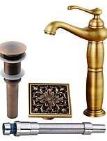 Antique Centerset Widespread Pre Rinse with  Ceramic Valve Single Handle One Hole for  Antique Copper , Bathroom Sink Faucet