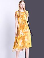 Для женщин На выход На каждый день Изысканный Свободный силуэт Платье С принтом,Круглый вырез Средней длины С короткими рукавами Полиэстер