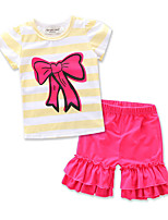 Girls' Going out Casual/Daily Formal Striped Print Sets,Cotton Summer Short Sleeve Clothing Set