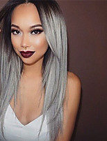 Black Root Grey Color Brazilian Virgin Hair Glueless Lace Wigs Silky Straight Hair Lace Front Human Hair Wigs Virgin Hair Wig for Woman
