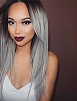 Raiz preta cor cinzenta cabelo virgem brasileiro glueless rendas perucas cabelo sedoso reto laço frente perucas de cabelo humano peruca de
