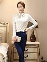 Tee-shirt Femme,Couleur Pleine Sortie simple Manches Longues Col de Chemise Coton