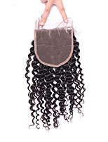 Mongolian Kinky Curly Lace Closure Free/Middle/Three Part Remy Hair 4*4 Natural Color From 10 To 18 Inch Lace Human Closure