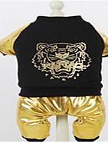 Hunde Overall Hundekleidung Frühling/Herbst Tier Lässig/Alltäglich Gold Silber