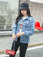 Women's Casual/Daily Simple Cute Spring Denim Jacket,Solid Square Neck Short Cotton