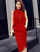 Damen einfarbig Einfach Ausgehen Arbeit Bluse Kleid Anzüge,Rundhalsausschnitt