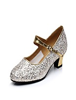 Non Customizable Women's Latin Sparkling Glitter Heels Indoor Buckle Sparkling Glitter Cuban Heel Gold 1
