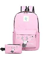 Women Backpack Canvas All Seasons Sports Outdoor Shopping Bucket Ruffles Zipper Black Blushing Pink Gray Navy Blue Azure