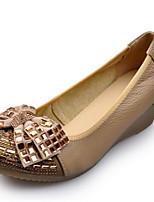 Mujer-Tacón Cuña-Confort-Zapatos de taco bajo y Slip-Ons-Informal-PU-Negro Almendra