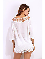 Women's Casual/Daily Sexy Blouse,Solid Boat Neck ½ Length Sleeve Polyester Thin