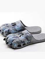 Masculino-Chinelos e flip-flops-Chanel-Rasteiro-Preto Cinzento Azul-Borracha-Casual