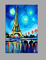 Handpainted Oil Painting Eiffel Tower Wall Art With Stretched Frame Ready to Hang