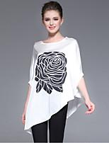 Damen Druck Anspruchsvoll Ausgehen T-shirt,Rundhalsausschnitt Sommer ¾-Arm Polyester Dünn