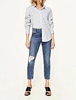 Les femmes sortent décontracté / quotidien simple chic de la rue chute chemise d'hiver, chemise solide chemise à manches longues coton