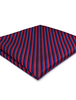 CH17 For Classic Men Pocket Square Handkerchiefs Blue Red Stripes 100% Silk Wedding Business Handmade