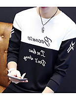 Men's Casual/Daily Sweatshirt Letter Round Neck Stretchy Cotton