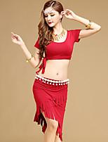Latin Dance Outfits Women's Performance Modal 2 Pieces Short Sleeve High Top Skirt 32