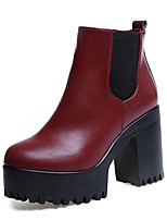 Women's Boots Fall Winter Club Shoes D'Orsay & Two-Piece Leatherette Outdoor Office & Career Casual Chunky Heel Ribbon Tie Burgundy Black