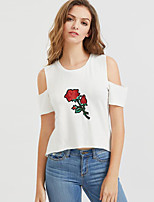 Women's Casual/Daily Beach Holiday Sexy Simple Cute All Seasons Summer T-shirt,Floral Round Neck Short Sleeve Rayon Medium