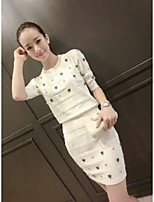 Women's Party/Cocktail Sexy T-shirt Dress Suits,Print Round Neck Lace strenchy