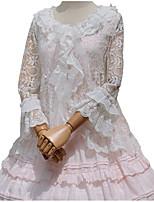 חולצה לוליטה מתוקה Cosplay שמלות לוליטה לבן פרח שרוול ארוך ל