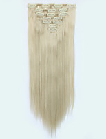 7pcs/Set 130g Honey Blonde Straight 50cm Hair Extension Clip In Synthetic Hair Extensions