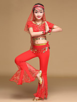 Belly Dance Outfits Kid's Performance Chiffon Spandex Tulle Coins Rhinestones Sequins 4 Pieces Short Sleeve Dancewear Top Hip Scarf Pants Headpieces