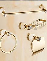 Contemporary Cream Jade Gold Brass 4PCS Bathroom Accessory Set  Towel Bar Towel Ring Soap Holder Paper Holder