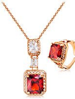 Necklace/Ring Crystal Euramerican Crystal Rhinestone Alloy Rectangle 1 Necklace Rings ForWedding Party Special Occasion Anniversary