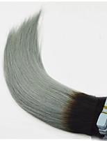 fita no cabelo extensão ombre cabelo humano cabelo grisalho reta cinza tira de pele ombre Remy trama fita indiano extensões de cabelo da