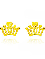 Stud Earrings Crown Style Gold Jewelry For Wedding Party Engagement Valentine 1 pair