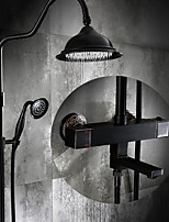 Antique Centerset Thermostatic  Rain Shower with  Ceramic Valve Single Handle Two Holes for  Oil-rubbed Bronze  Shower Faucet