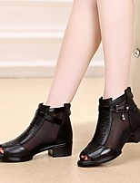 Women's Sandals Spring Comfort PU Leather Casual Black