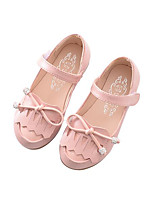 Girls' Flats Spring Fall Comfort Ballerina PU Outdoor Casual Flat Heel Magic Tape Blushing Pink Gray White Walking