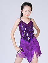 Latin Dance Dresses Kid's Performance Spandex Sequined Tassel(s) 1 Piece Sleeveless Dress