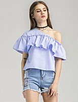 Women's Going out Casual/Daily Holiday Sexy Cute Street chic Summer T-shirt,Plaid Boat Neck Short Sleeve Polyester