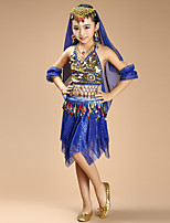 Shall We Belly Dance Outfits Kid Chiffon Spandex Coins 4 Pieces Dance Costumes