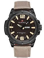 NAVIFORCE Herren Sportuhr Modeuhr Armbanduhr Armbanduhren für den Alltag Quartz Kalender Nylon Band Cool Bequem Luxuriös Silber