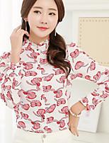 Для женщин На каждый день Весна Рубашка Рубашечный воротник,Простое С принтом Длинный рукав,Хлопок,Средняя