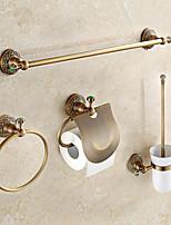 Antique Brass with Green Jade 4pcs Bathroom Accessory Set