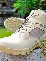 Черный Хаки-Для мужчин-Для прогулок Для занятий спортом Work & Safety-Полотно-На низком каблуке-Удобная обувь-Ботинки
