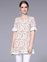 Damen Blumen Niedlich Ausgehen Lässig/Alltäglich T-shirt,Rundhalsausschnitt Sommer Kurzarm Polyester Mittel