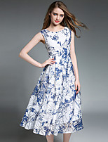 Fashion Wild Round Neck Sleeveless Printing Dress Daily Leisure Dating Cocktail Party Party Dress